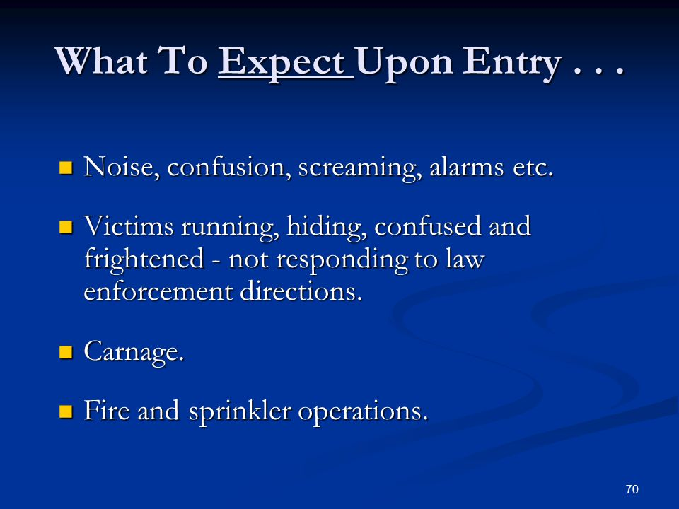 What To Expect Upon Entry . . .