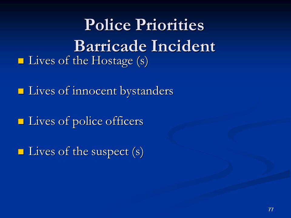 Police Priorities Barricade Incident