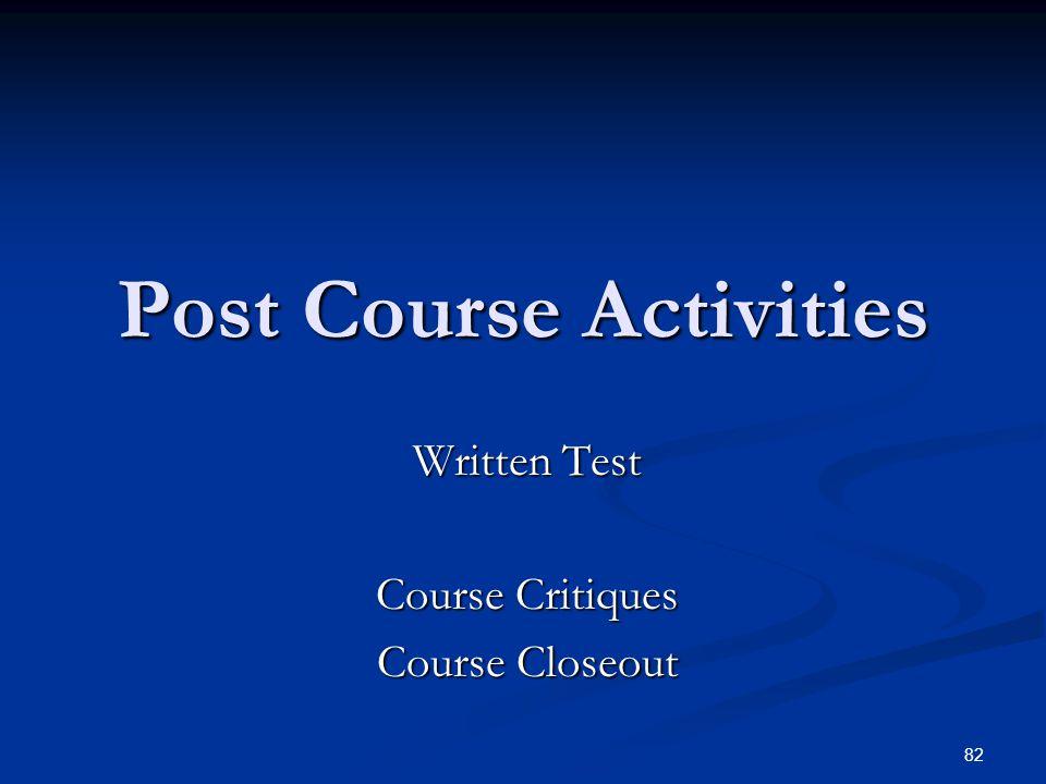 Post Course Activities