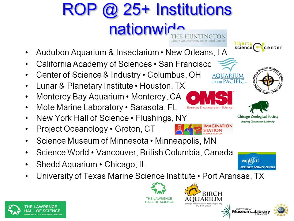 ROP @ 25+ Institutions nationwide