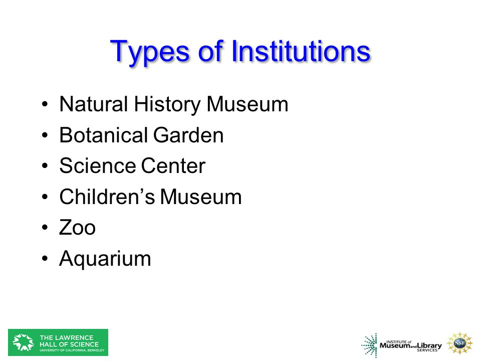 Types of Institutions Natural History Museum Botanical Garden
