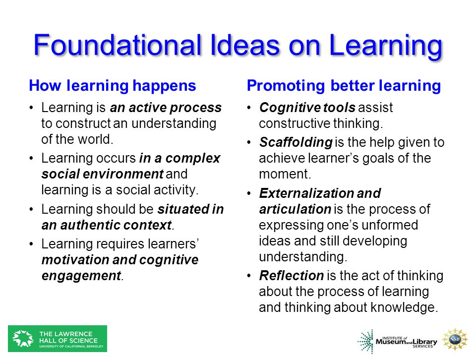 Foundational Ideas on Learning