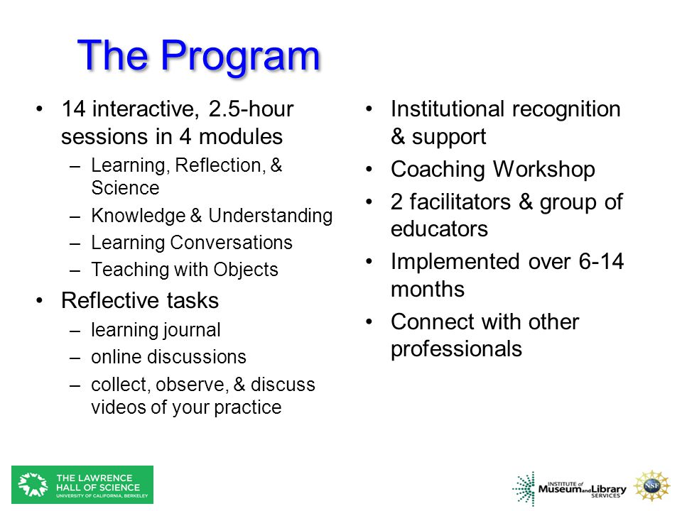 The Program 14 interactive, 2.5-hour sessions in 4 modules