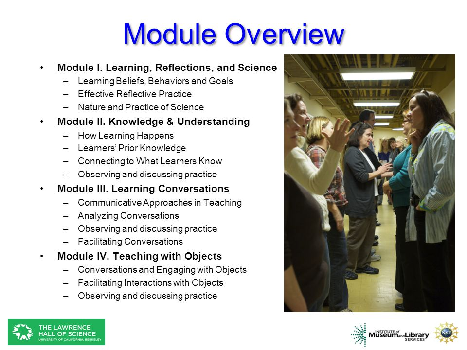 Module Overview Module I. Learning, Reflections, and Science