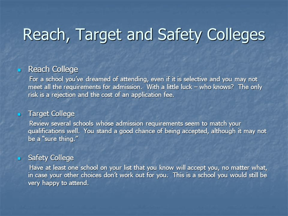 Reach, Target and Safety Colleges