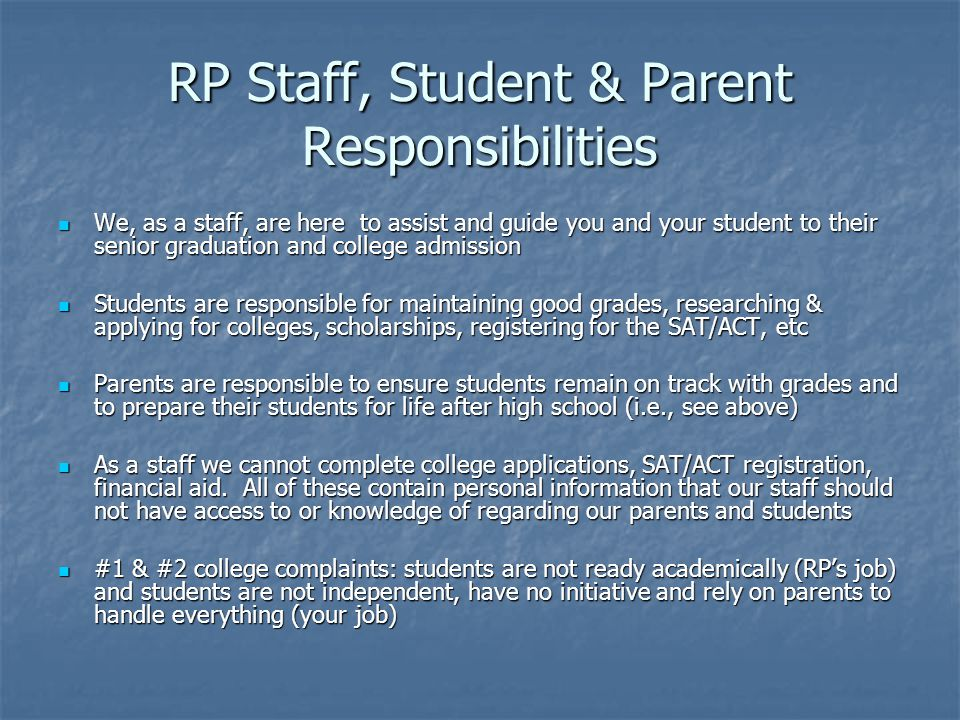 RP Staff, Student & Parent Responsibilities