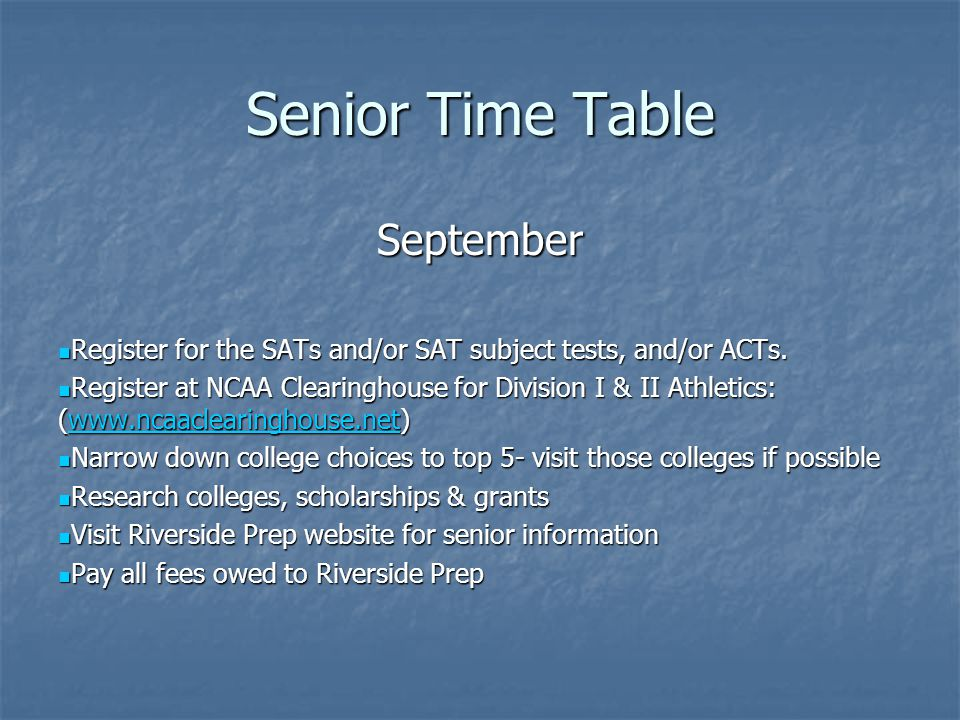 Senior Time Table September