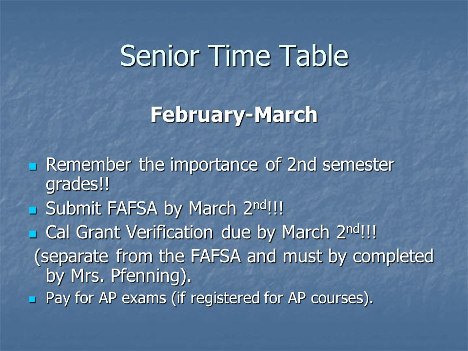 Senior Time Table February-March