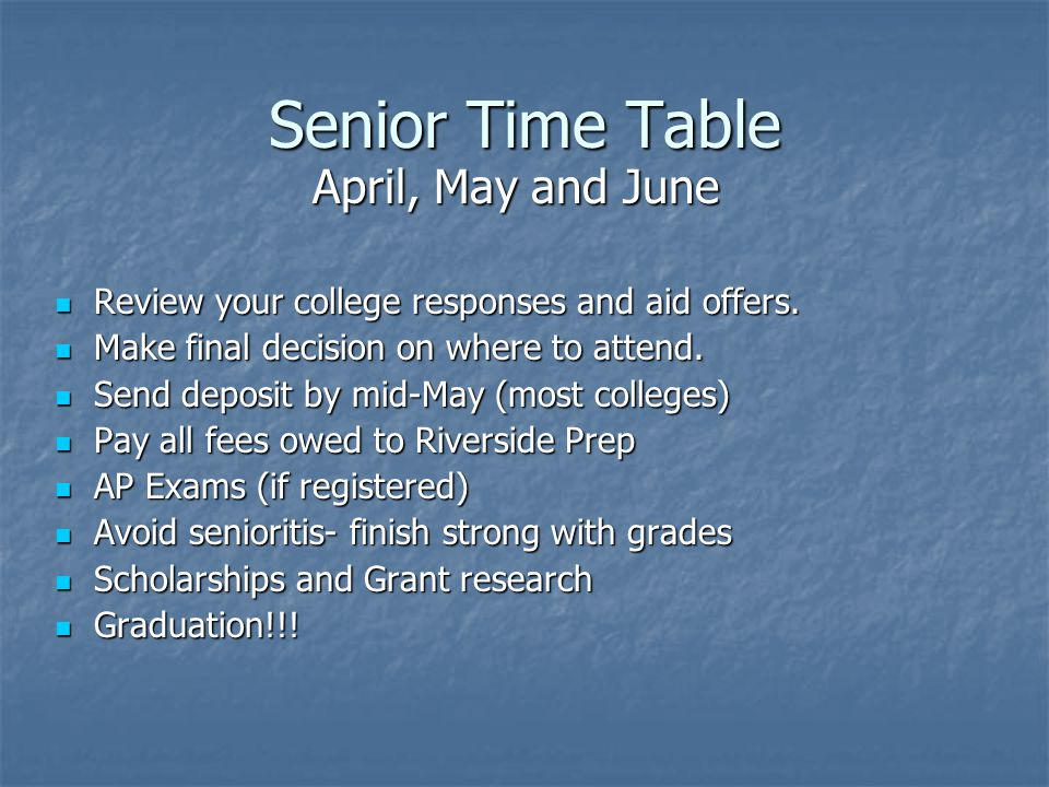 Senior Time Table April, May and June
