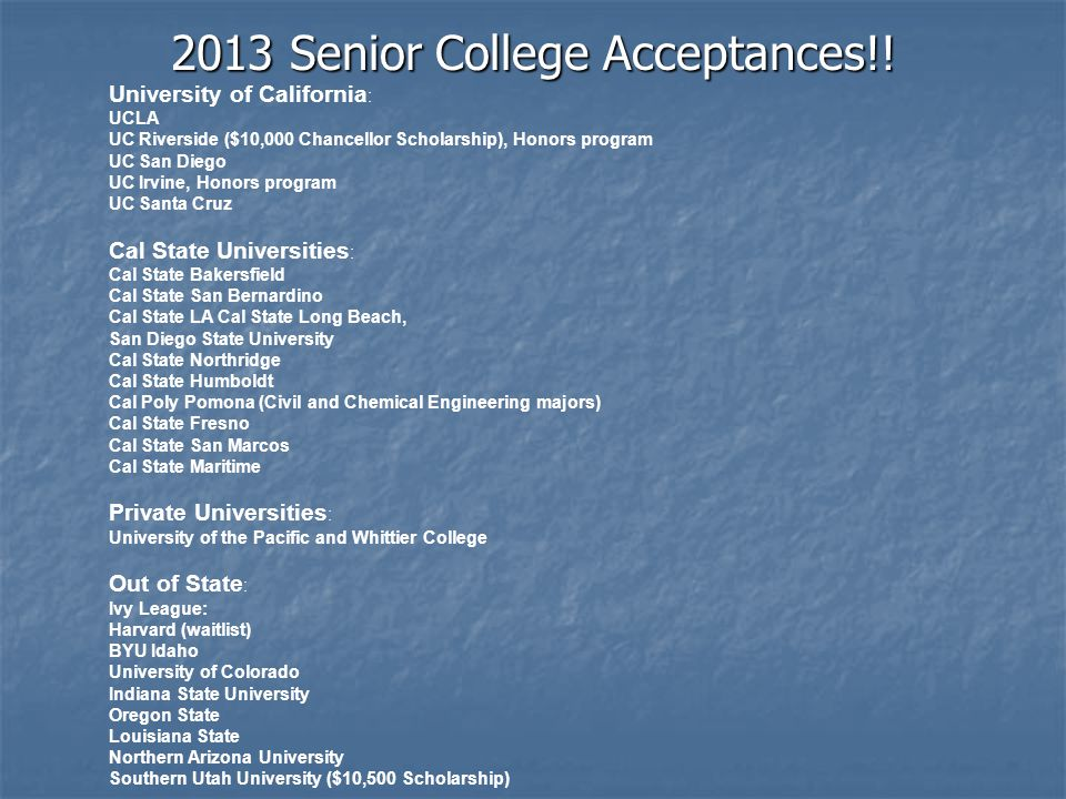 2013 Senior College Acceptances!!