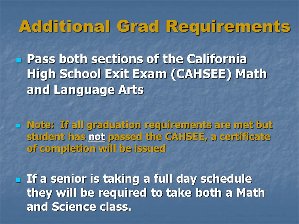 Additional Grad Requirements