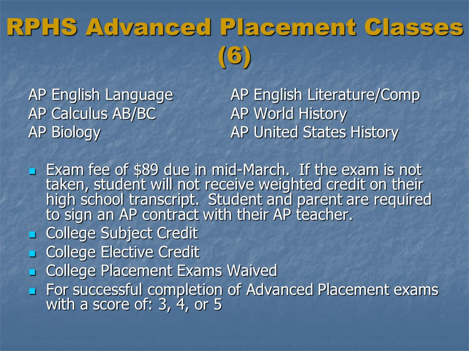 RPHS Advanced Placement Classes (6)