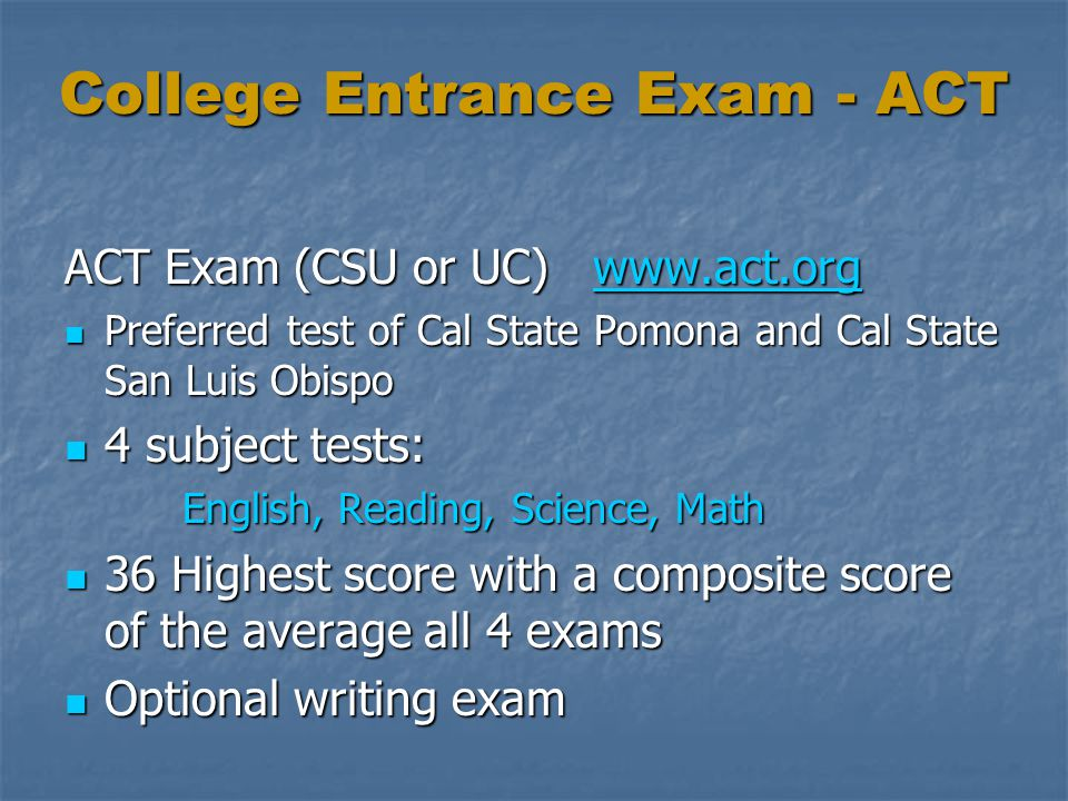 College Entrance Exam - ACT