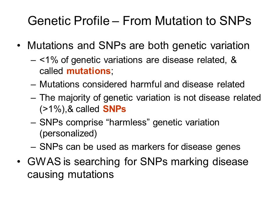 Genetic Profile – From Mutation to SNPs
