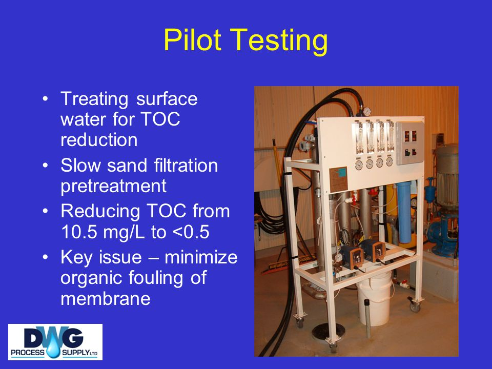 Pilot Testing Treating surface water for TOC reduction