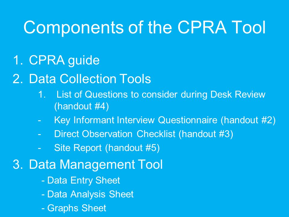 Components of the CPRA Tool