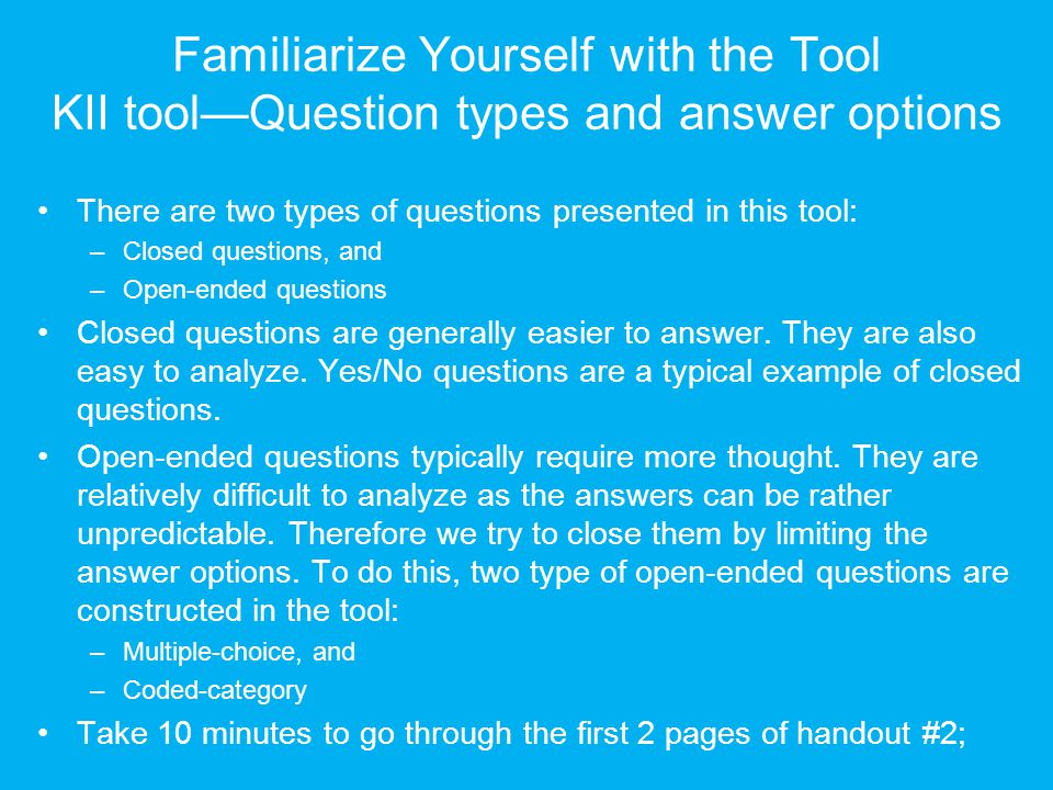 Familiarize Yourself with the Tool KII tool—Question types and answer options