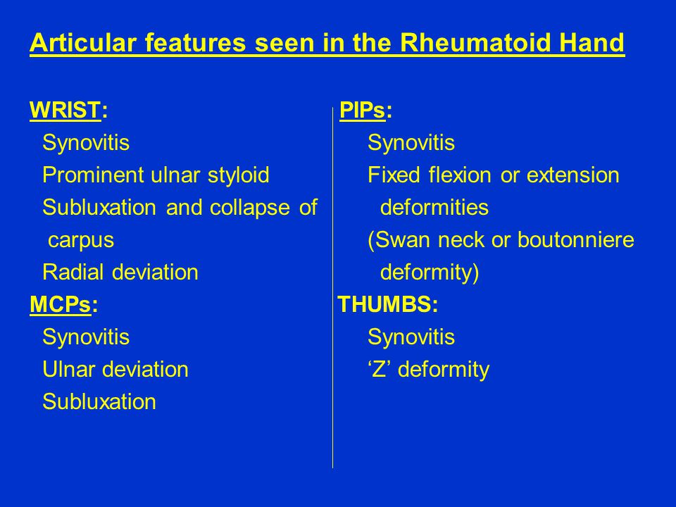 Articular features seen in the Rheumatoid Hand