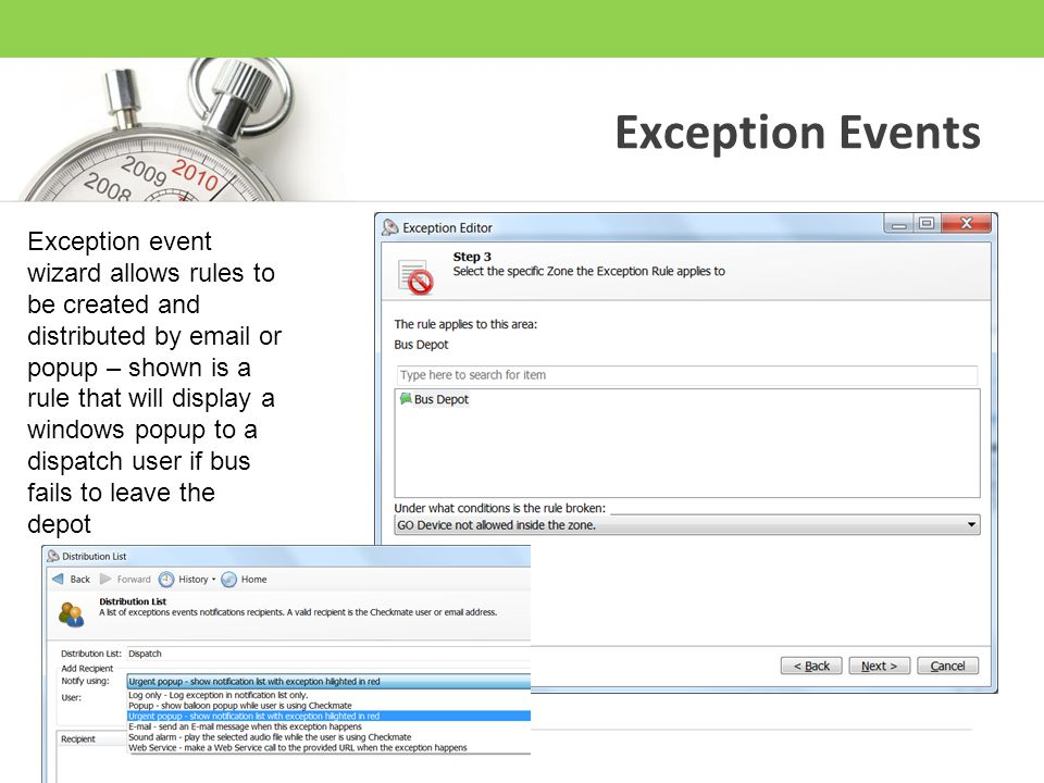Exception Events Exception event wizard allows rules to