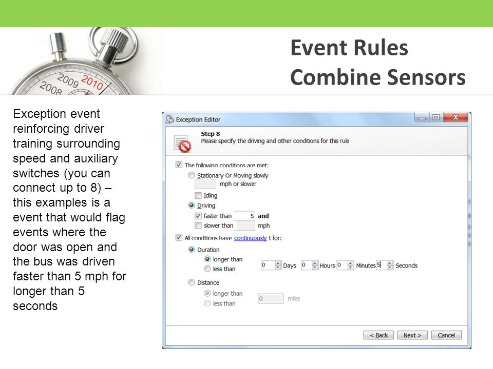 Event Rules Combine Sensors Exception event