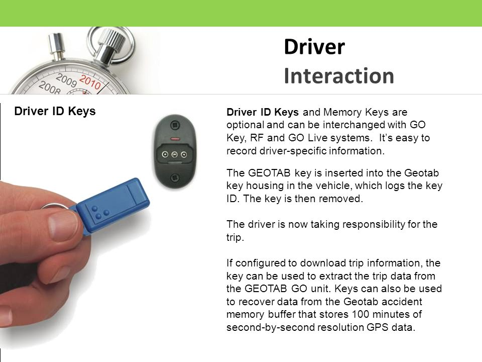 Driver Interaction Driver ID Keys