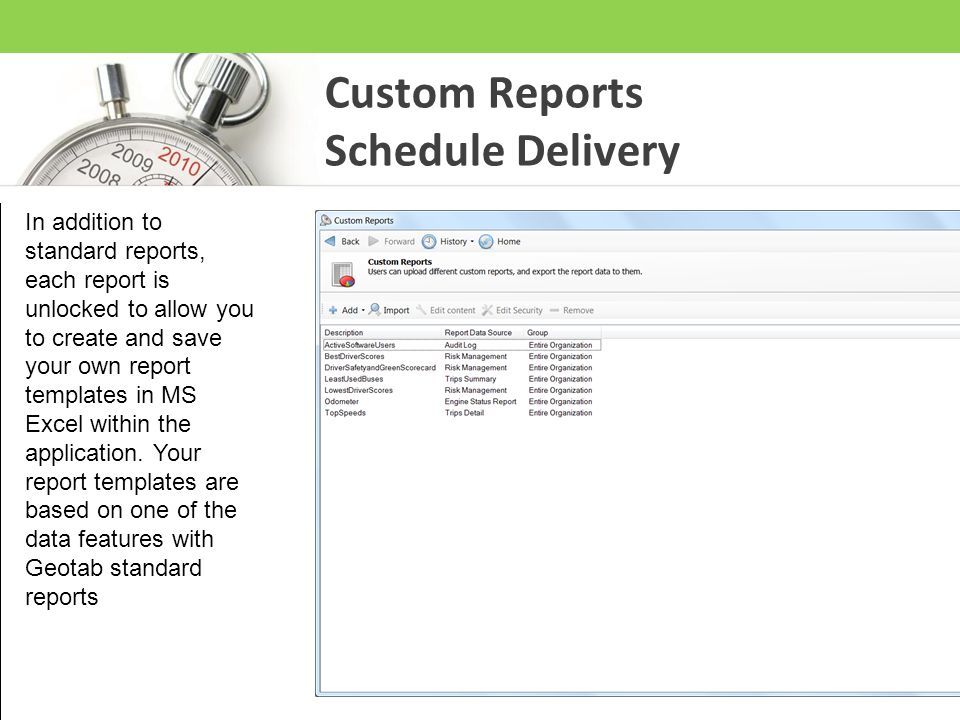 Custom Reports Schedule Delivery