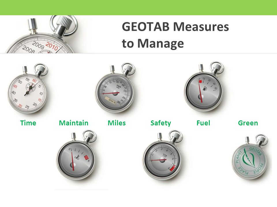 GEOTAB Measures to Manage Time Maintain Miles Safety Fuel Green