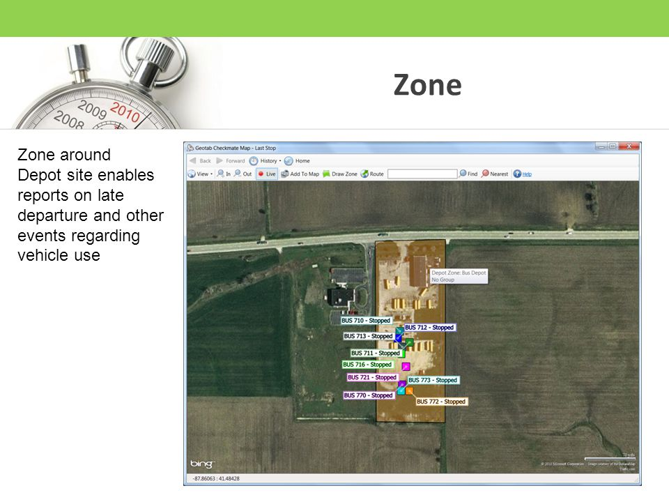 Zone Zone around Depot site enables reports on late