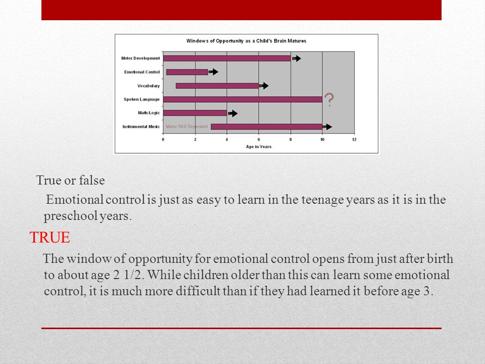 True or false Emotional control is just as easy to learn in the teenage years as it is in the preschool years.
