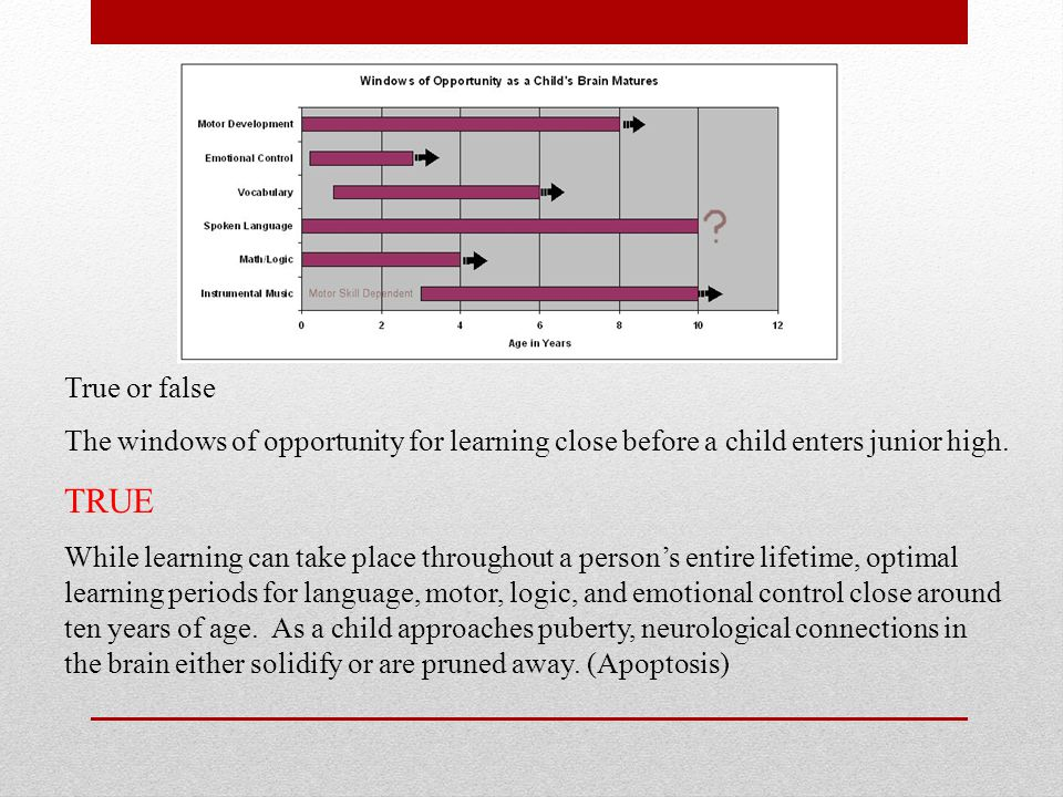 True or false The windows of opportunity for learning close before a child enters junior high. TRUE.