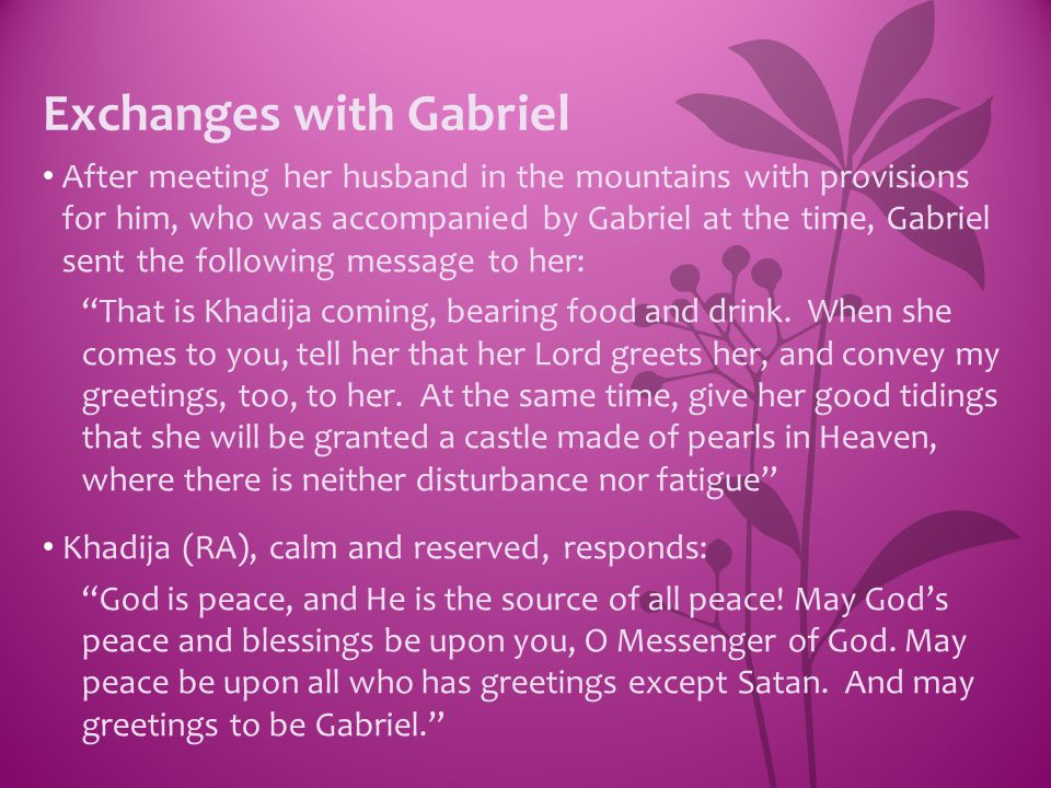 Exchanges with Gabriel