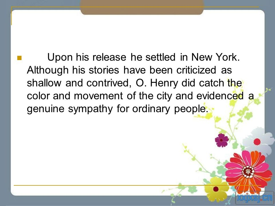 Upon his release he settled in New York