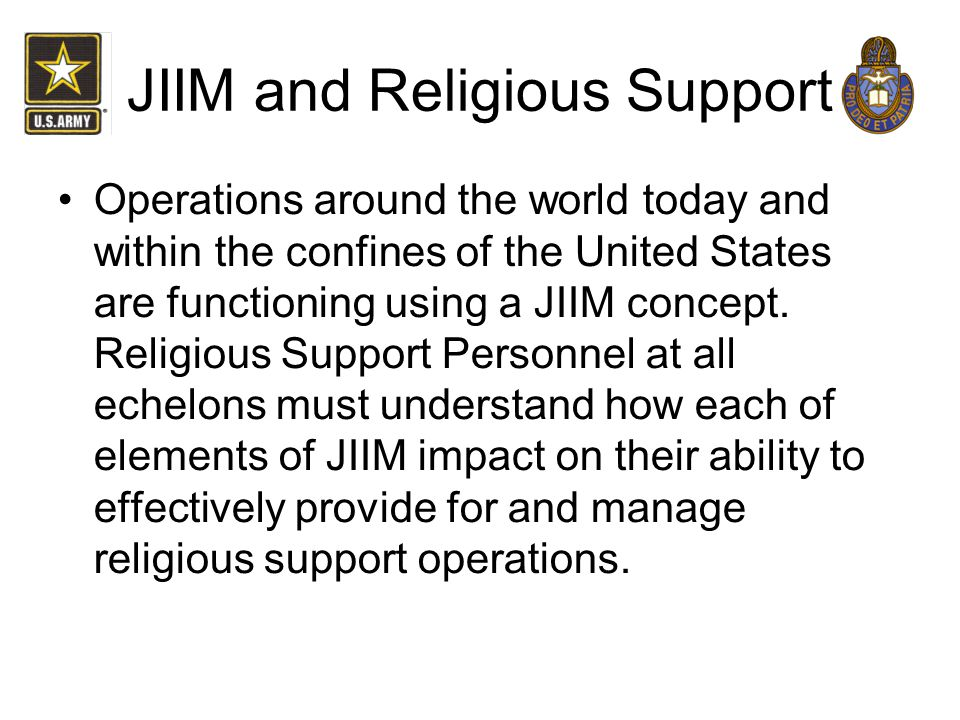 JIIM and Religious Support