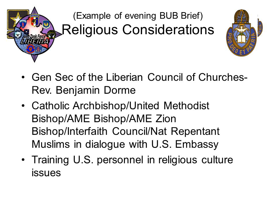 (Example of evening BUB Brief) Religious Considerations
