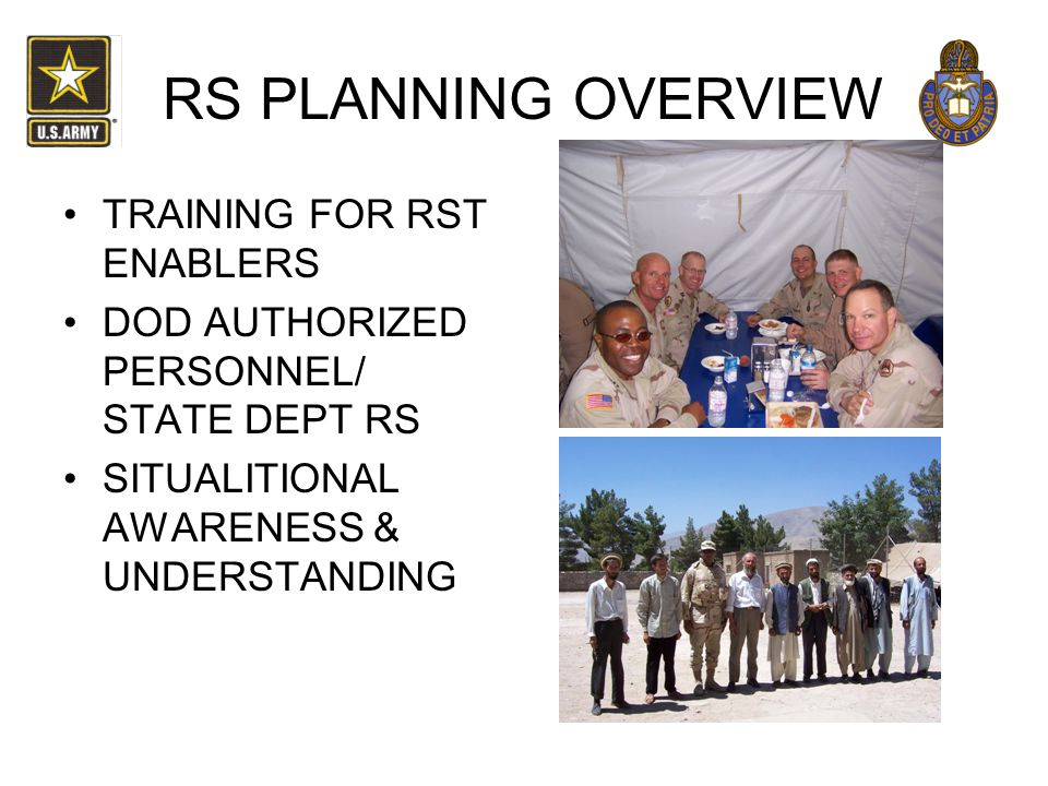 RS PLANNING OVERVIEW TRAINING FOR RST ENABLERS