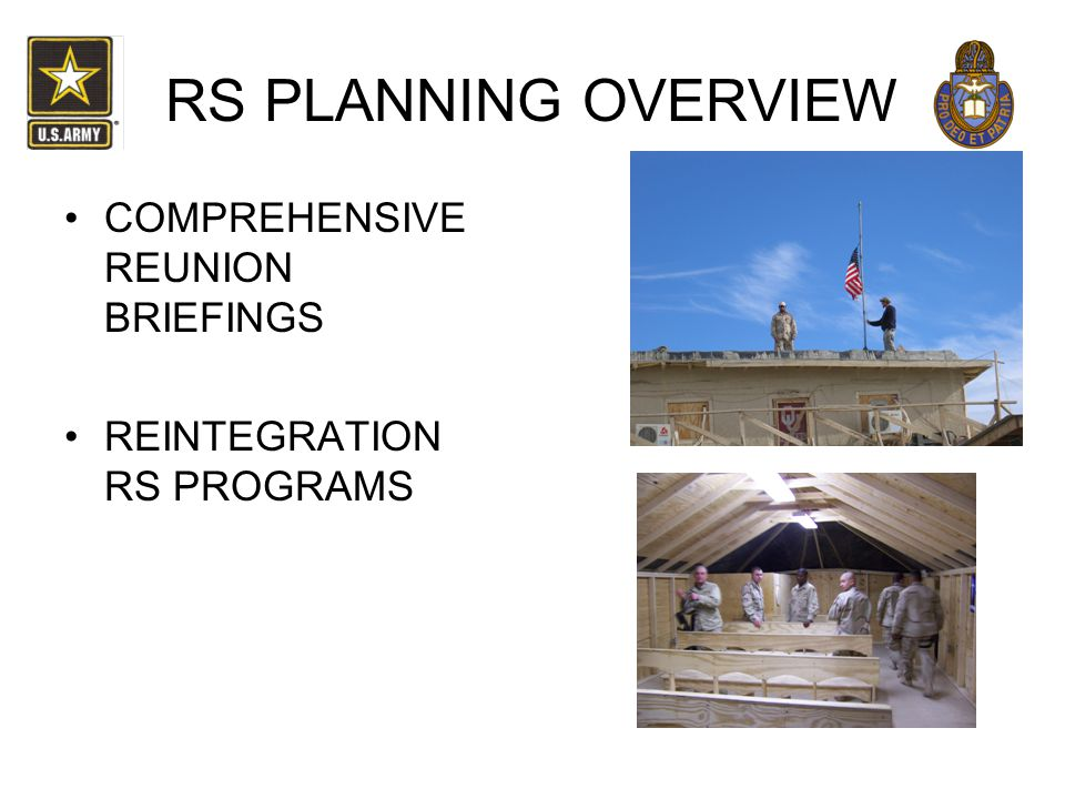 RS PLANNING OVERVIEW COMPREHENSIVE REUNION BRIEFINGS