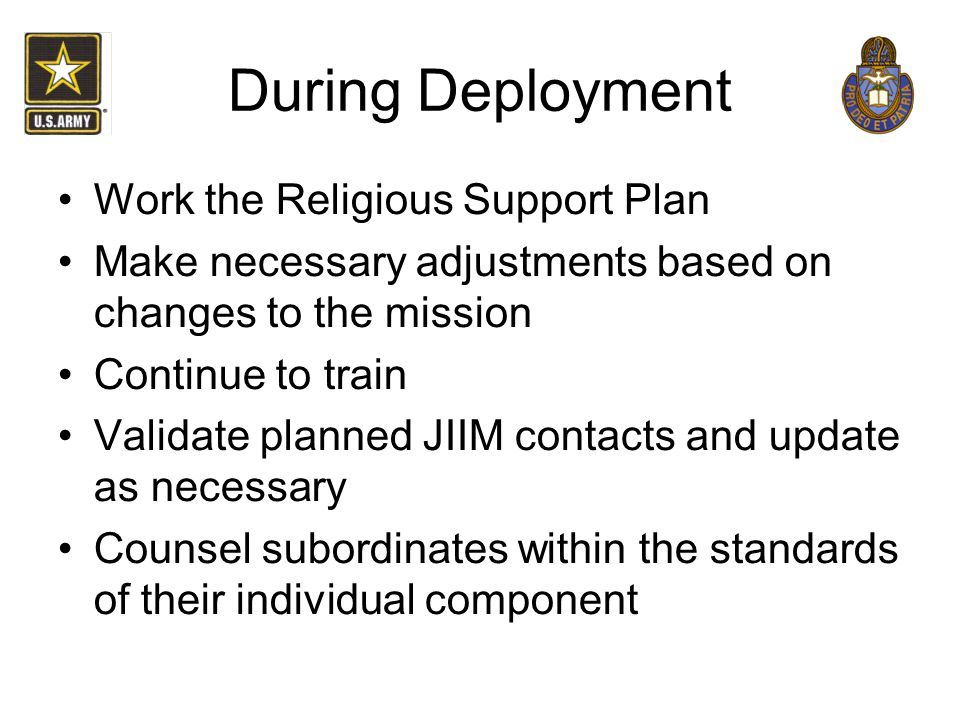 During Deployment Work the Religious Support Plan