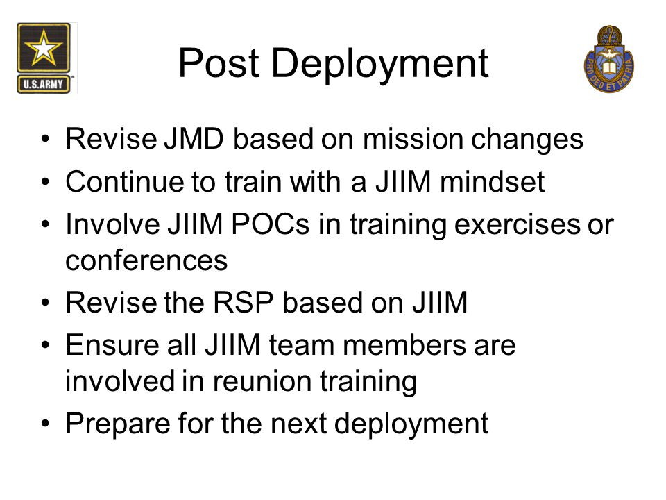 Post Deployment Revise JMD based on mission changes