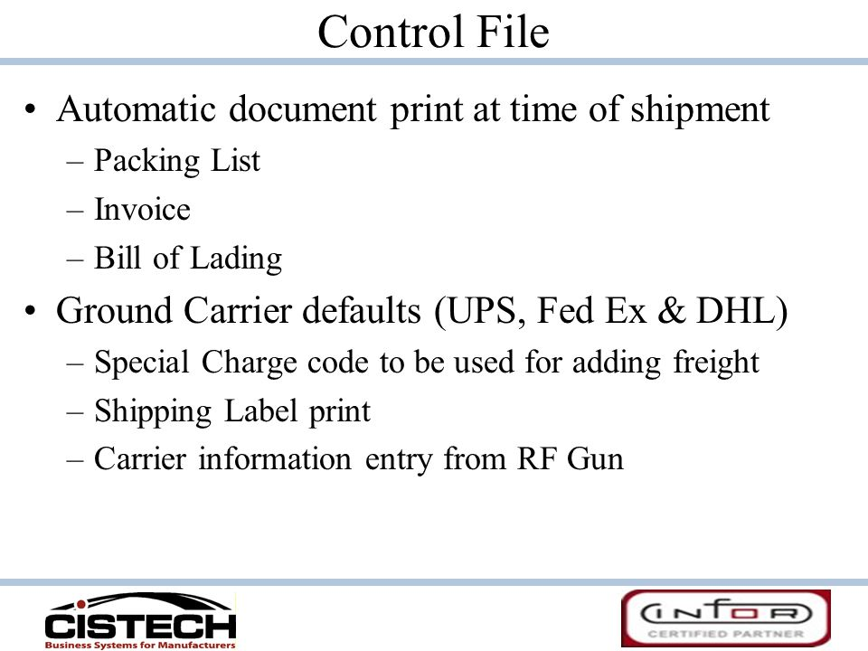 Control File Automatic document print at time of shipment