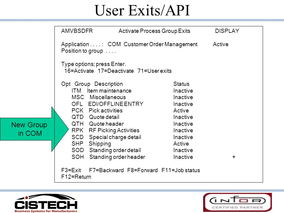 User Exits/API New Group in COM