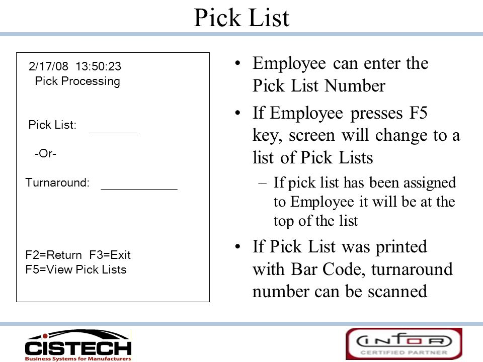 Pick List Employee can enter the Pick List Number