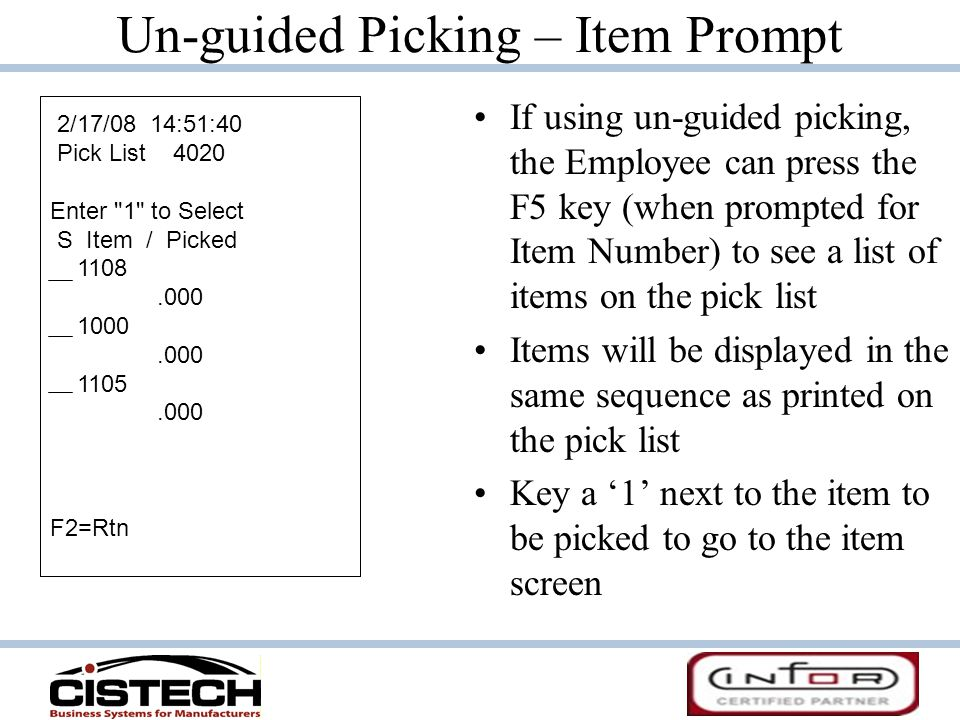 Un-guided Picking – Item Prompt