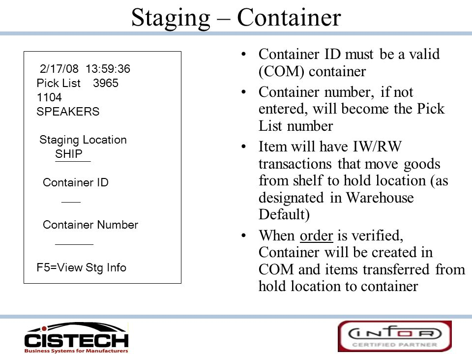 Staging – Container Container ID must be a valid (COM) container