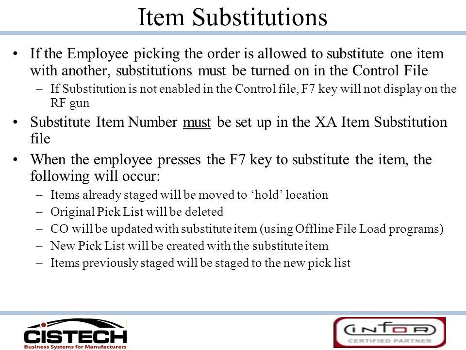 Item Substitutions