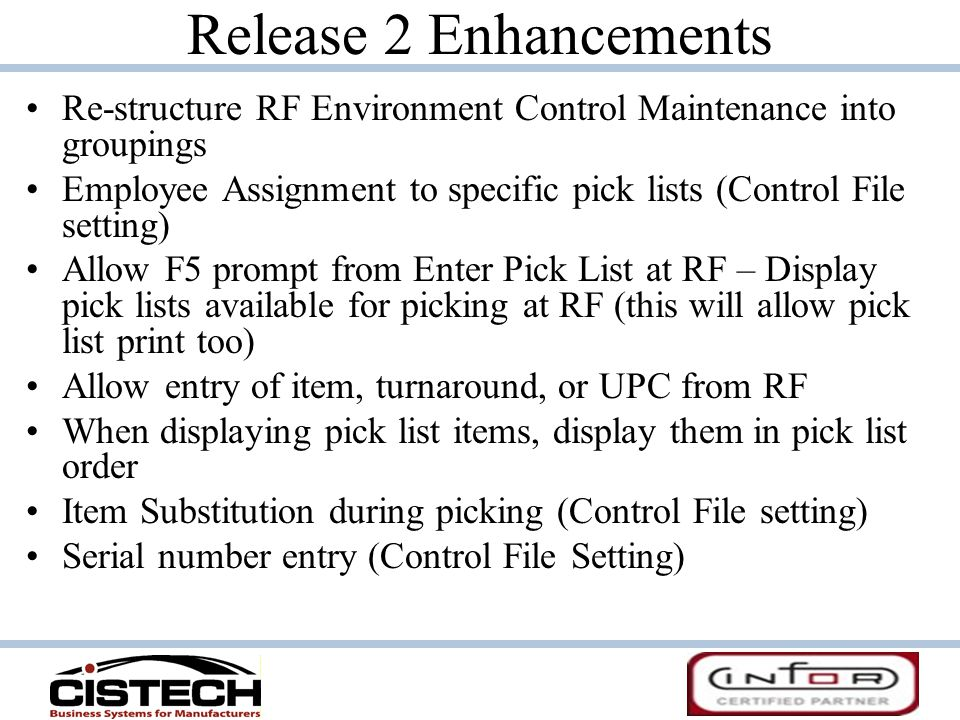 Release 2 Enhancements Re-structure RF Environment Control Maintenance into groupings.