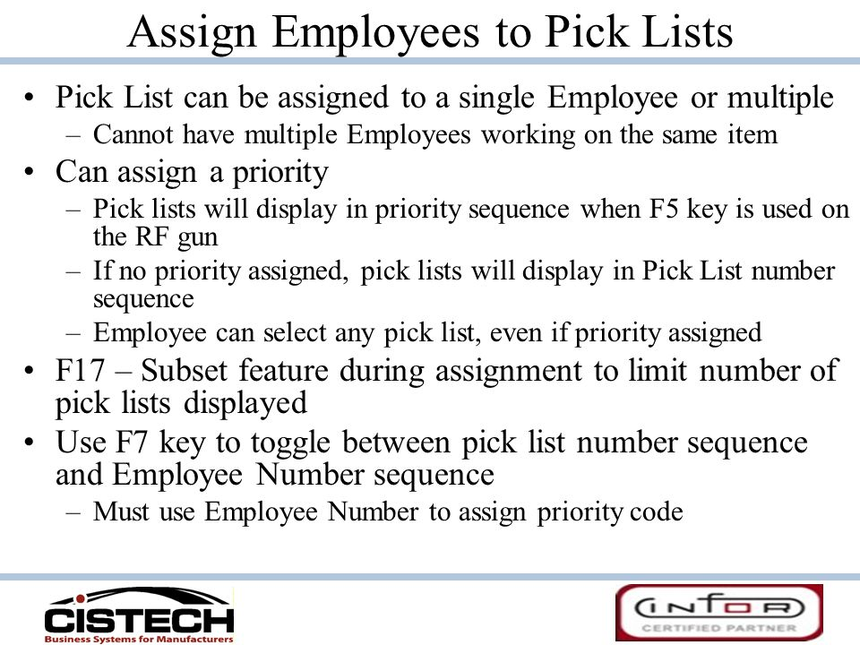 Assign Employees to Pick Lists