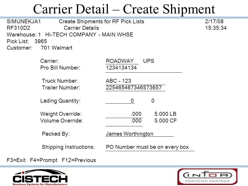 Carrier Detail – Create Shipment