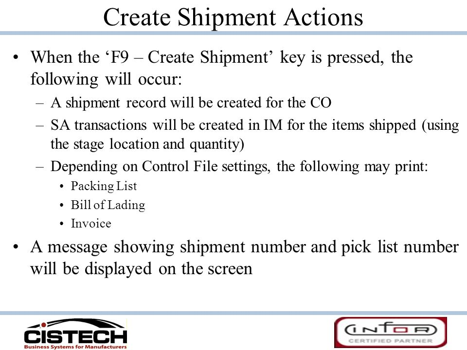 Create Shipment Actions