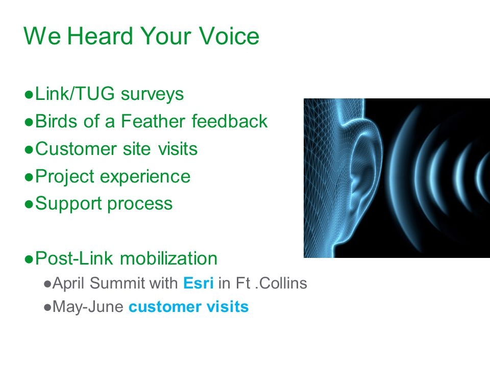 We Heard Your Voice Link/TUG surveys Birds of a Feather feedback