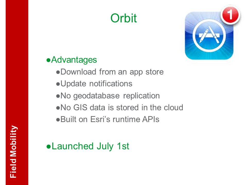 Orbit Launched July 1st Advantages Field Mobility